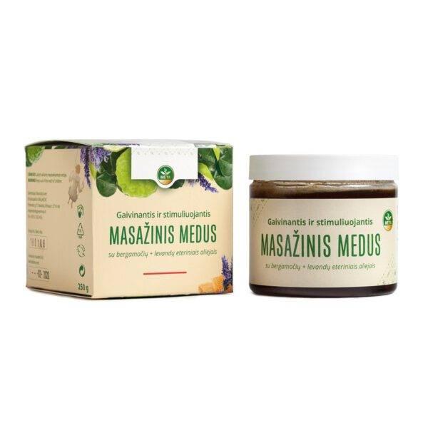 Gaivinantis ir stimuliuojantis MASAŽINIS MEDUS su bergamočių+levandų eteriniais aliejais