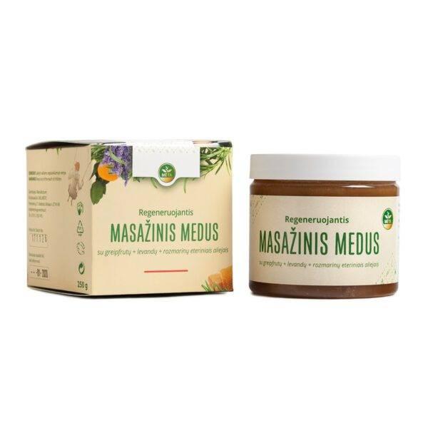 Regeneruojantis MASAŽINIS MEDUS su greipfrutų+levandų+rozmarinų eteriniais aliejais